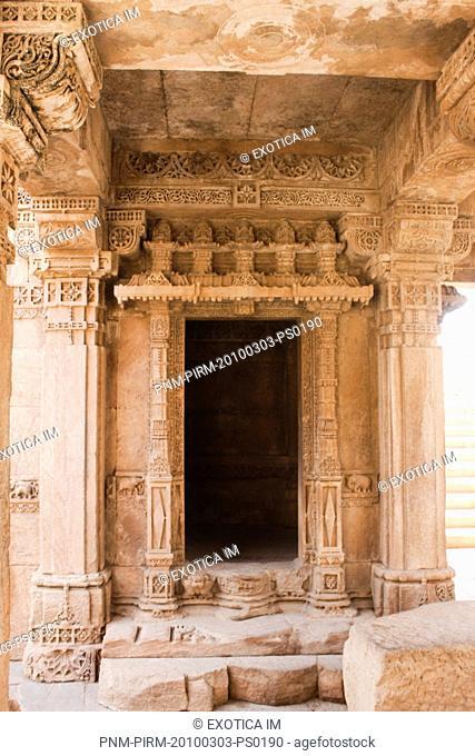 Architectural details of a building, Rani ki Vav, Patan, Ahmedabad, Gujarat, India