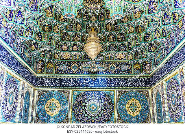 Details of Shah Cheragh Mosque and mausoleum in Shiraz city in Iran