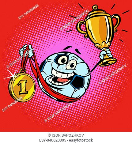Winner champion Cup first place gold medal. Character soccer ball football. Comic cartoon pop art retro illustration vector drawing
