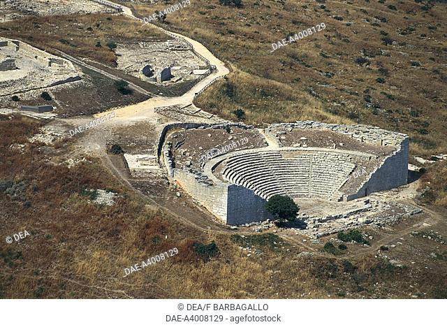 Aerial view of the Greek theatre of Segesta - Province of Trapani, Sicily Region, Italy