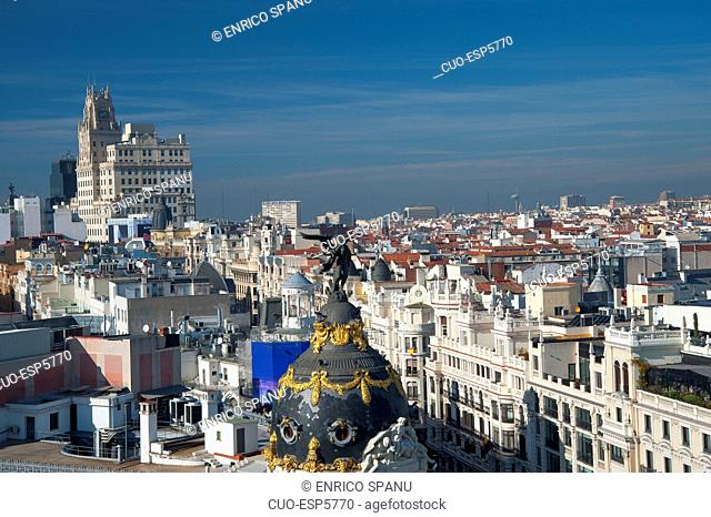 Calle Gran Via and Metropolitan Building, View from Terrace Circulo de Bellas Artes Azotea, Madrid, Spain, Europe
