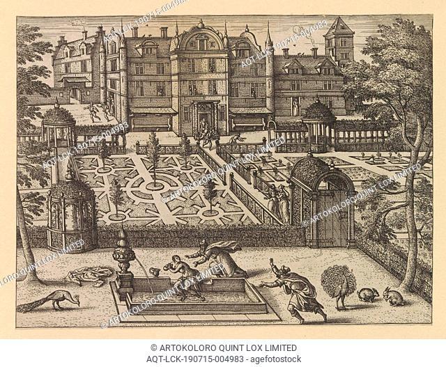 Court garden with Susanna in the bath Hortorum Viridariorumque elegantes and multiplicis formae (series title) Gardens of the minne (series title)