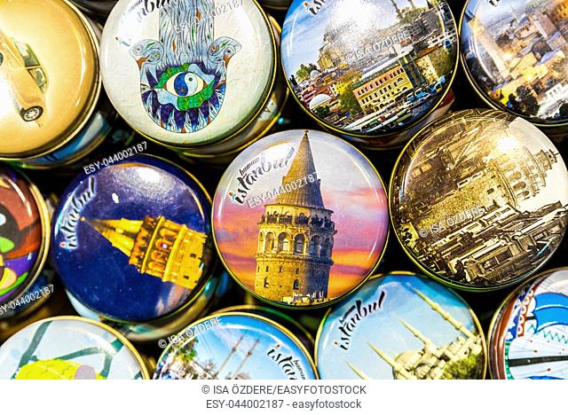 Collection of Souvenirs of colorful magnets with Istanbul popular landmarks for sale in Grand bazaar,Istanbul,Turkey