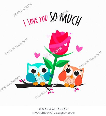 Valentine owls in love. Giving a big flower. Vector illustration