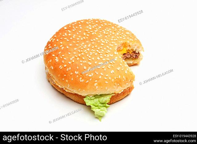 cheeseburger on white
