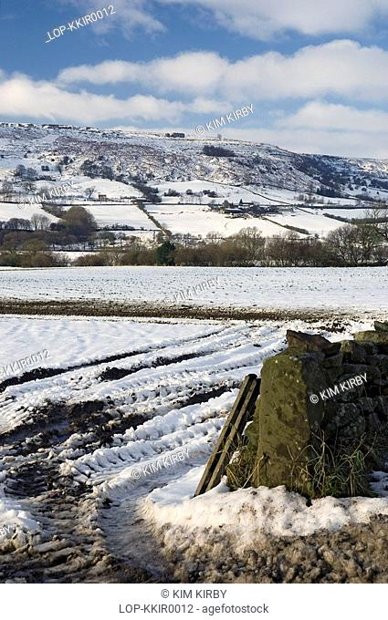 England, North Yorkshire, Rosedale, A snow covered view of Rosedale Valley in North Yorkshire