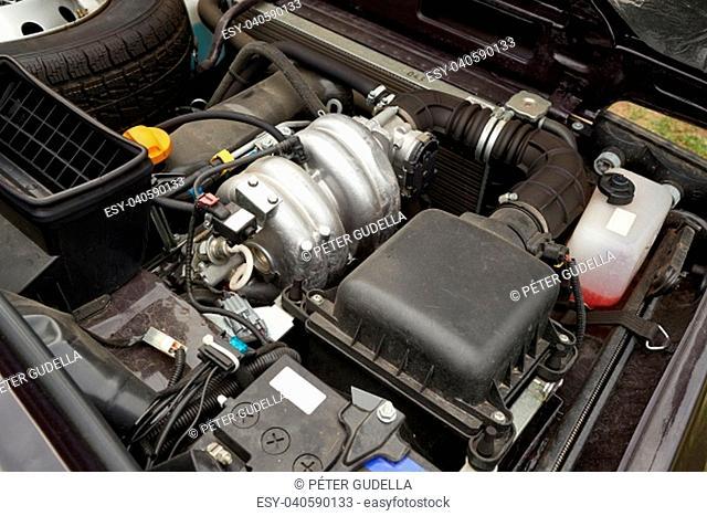 Car engine open hood