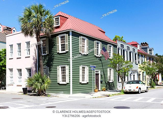 Historic antebellum residences on Church Street in the French Quarter District of Charleston, South Carolina