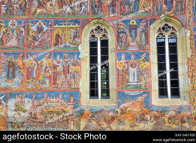 Exterior Frescoes, Moldovita Monastery, 1532, Painted Monasteries, UNESCO World Heritage Site, Vatra Moldovitei, Suceava County, Romania