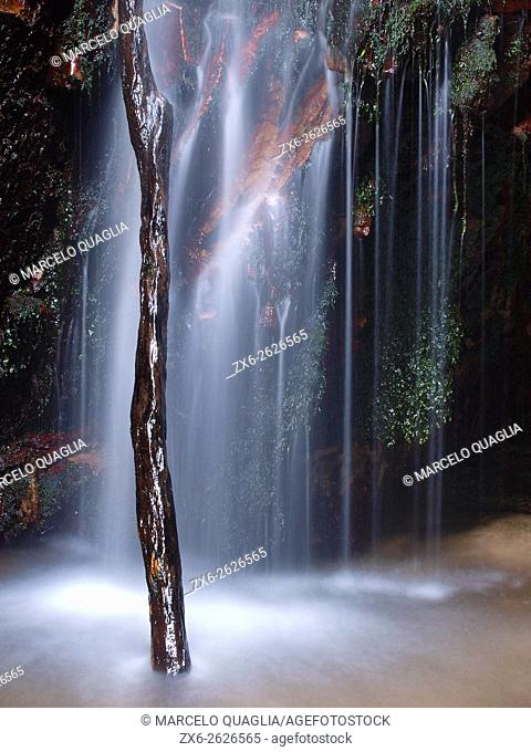 Detail of Salt del Diable waterfall at Arbucies village countryside. Montseny Natural Park. Barcelona province, Catalonia, Spain