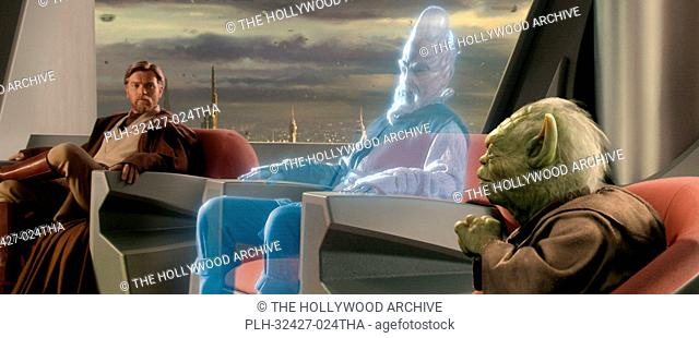 Jedi Ki-Adi-Mundi (played by actor Silas Carson) appears as a hologram from a distant planet during an important meeting of the Jedi Council attended by