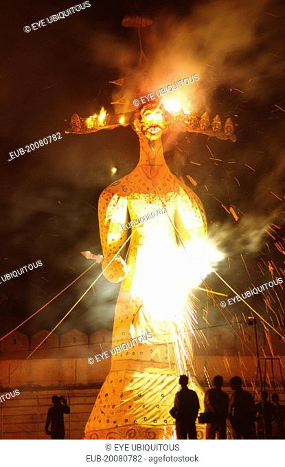 Dussehra festival effigy of Ravana set aflame. Dussehra is one of the biggest festivals held in northern India. Held annually over ten days at the end of the...