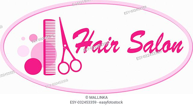 beauty hair salon signboard with pink scissors and comb