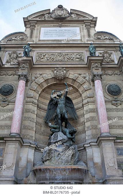 Low angle view of Fontaine Sant Michel, Paris, Ile-de-France, France