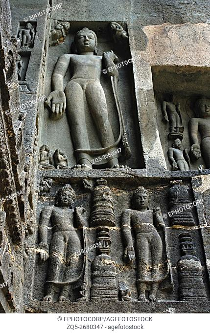 Ajanta, cave no. 09, right facade showing intrusive Buddhas. Ajanta caves are situated in the Aurangabad district of Maharashtra, India