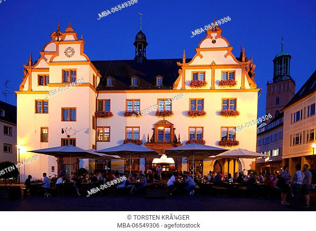 old city hall on the market square at dusk, Darmstadt, Hesse, Germany, Europe