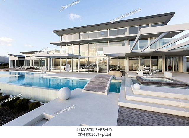 Tranquil modern luxury home showcase exterior with swimming pool and footbridge