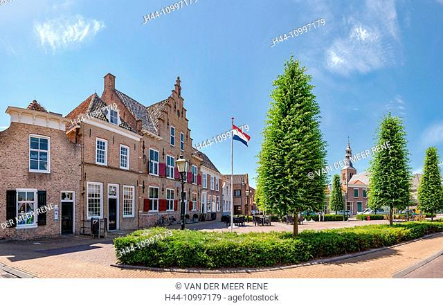 Sint-Maartensdijk, Zeeland, Market square with the city hall and the Saint Martin church