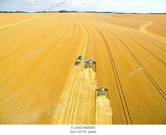 Aerial view of combine harvesters in sunny golden barley field