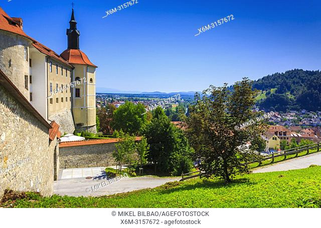 Loka Castle and city. Skofja Loka. Upper Carniola region. Slovenia, Europe