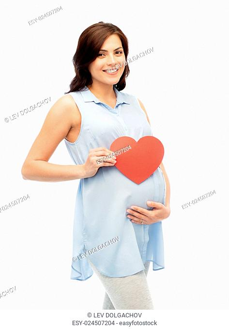 pregnancy, love, people and expectation concept - happy pregnant woman with red heart shape touching her belly over white background