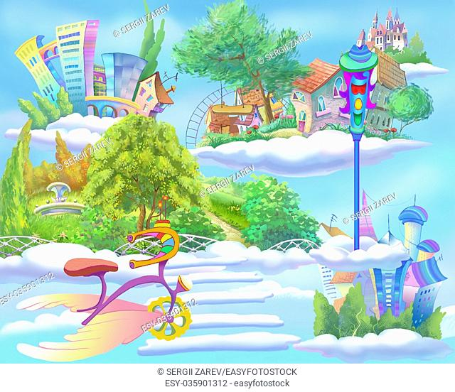 Digital Painting, Illustration of a Fairy Tale World with Floating Islands in the Sky. Fantastic Cartoon Style Artwork Scene, Story Background, Card Design