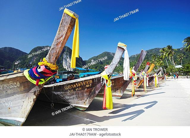Long tail boats on Ao Ton Sai beach, Ko Phi Phi Don, Thailand