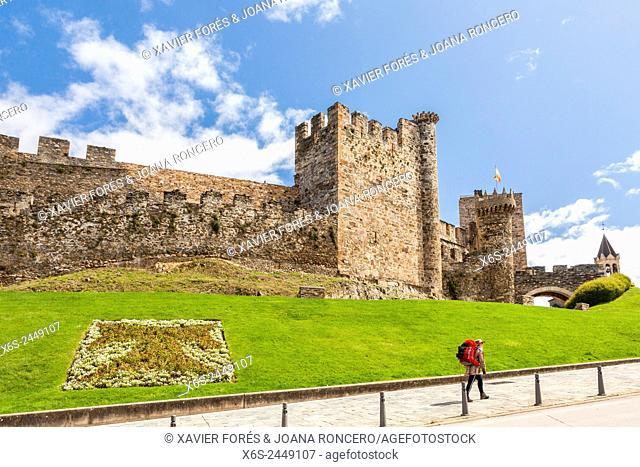 Los Templarios Castle in Ponferrada, Way of St. James, Leon, Spain