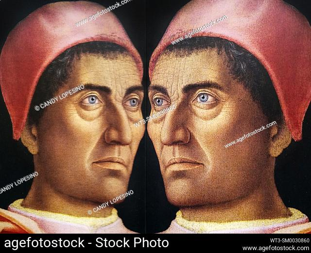 Men in Art, portrait of cardinal Carlo de Medici painted by Andrea Mantegna in the year 1463, reflected in a mirror