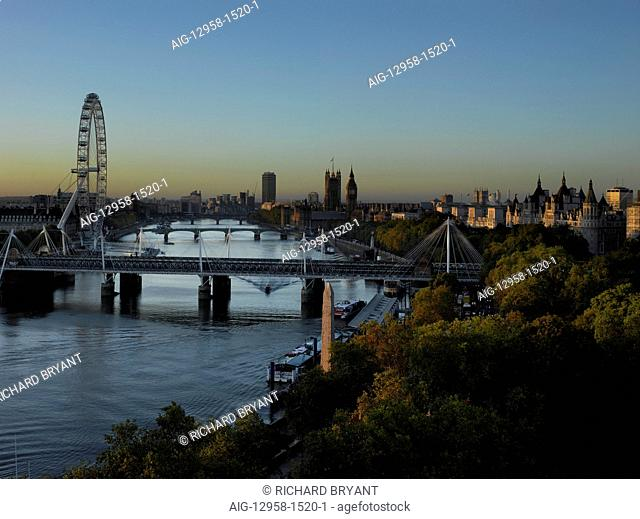 River Thames general view with London Eye and bridges from the Savoy Hotel