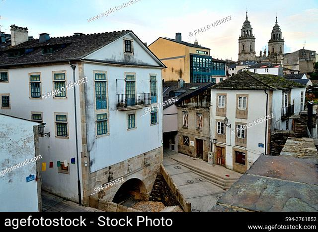 View of Lugo city from the walls, Lugo, Spain