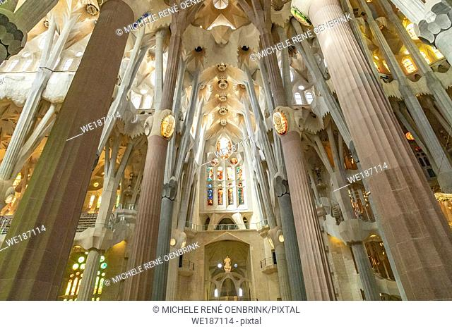 Interior of La Sagrada Família Antoni Gaudí's renowned unfinished church in Barcelona Spain begun in the 1880s