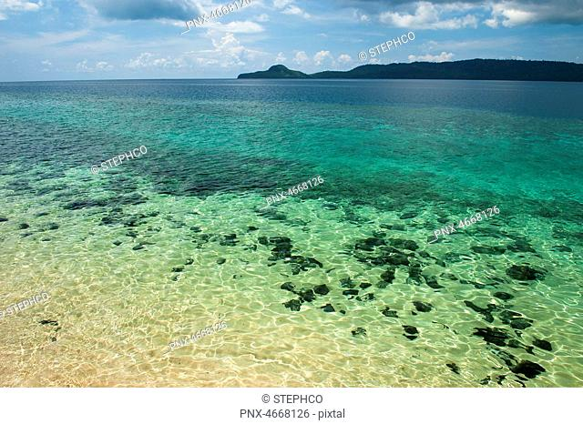 Sand and coral reef around Ilot Bambo, Mayotte, France