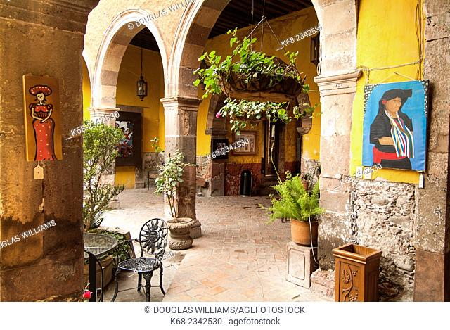 A courtyard of a commercial building in San Miguel de Allende, Mexico