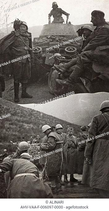 Second World War soldiers in a war zone, shot 1940-1945 by Villani, Studio