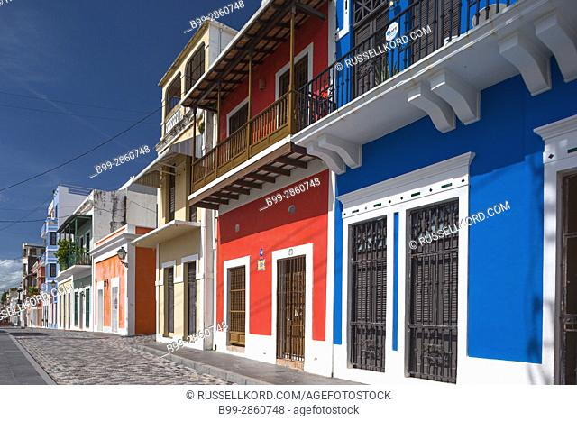 COLORFUL BUILDING FACADES CALLE LUNA OLD TOWN SAN JUAN PUERTO RICO