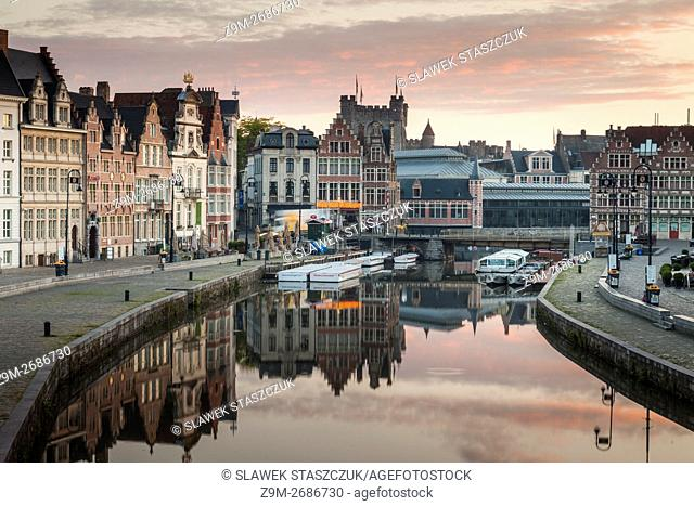 Sunrise on river Leie in Ghent old town, Belgium