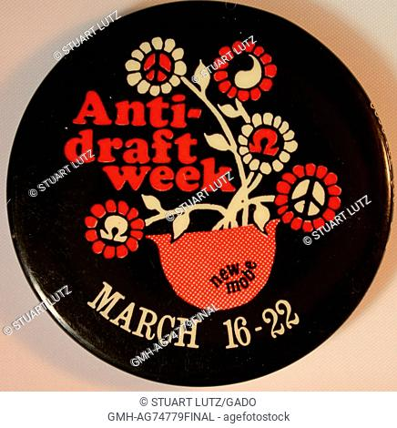 An anti-Vietnam War protest pin that contains the text 'Anti-Draft Week' and 'March 16-22', also features a flower pot with flowers that contain peace symbols
