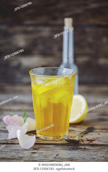 Sharbat (lemonade, Persia) with saffron, lemon and rose water