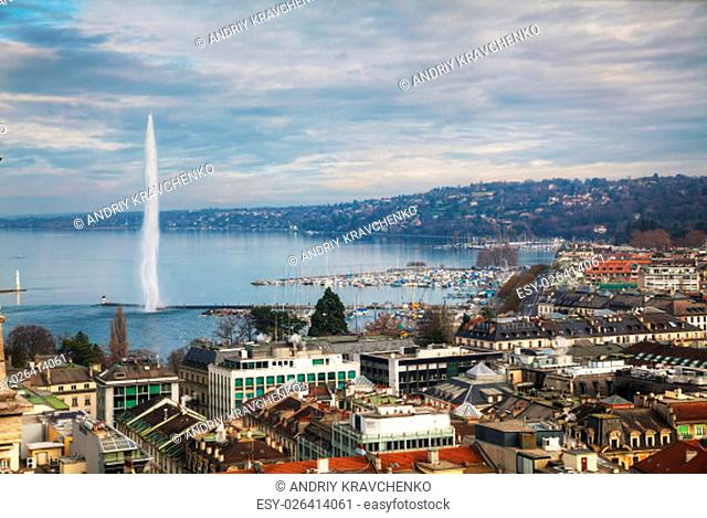 Aerial view of Geneva, Switzerland on a cloudy day