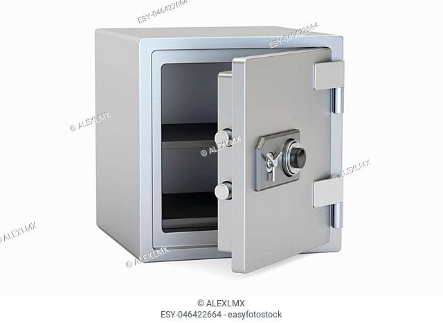 Safe Box With Combination Lock, 3D rendering isolated on white background