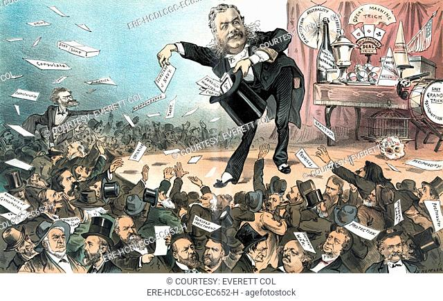'A presidential conjuror'. Chester Arthur, on stage, throwing out titles of political offices, 'soft soap,' 'promises,' etc., to crowd of men