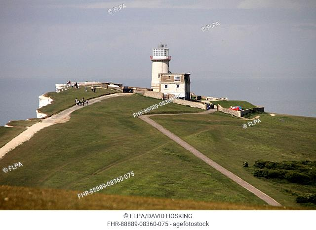 In 1831 construction began on Belle Tout lighthouse on the next headland west from Beachy Head It became operational in 1834 Because mist and low clo