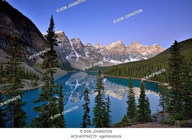 Dawn at Moraine Lake, Banff National Park, Alberta, Canada