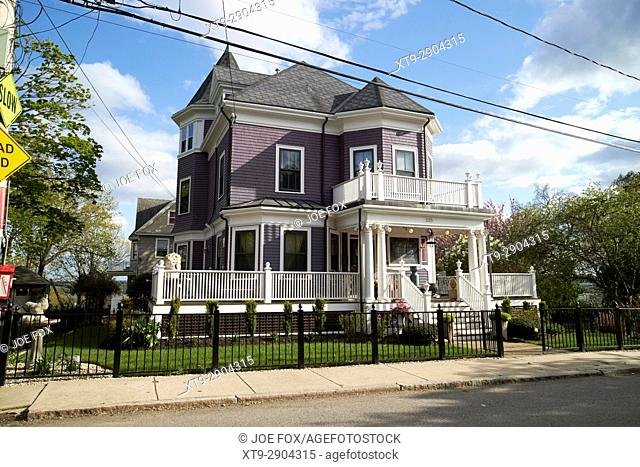 large detached victorian wooden home in affluent savin hill Boston USA