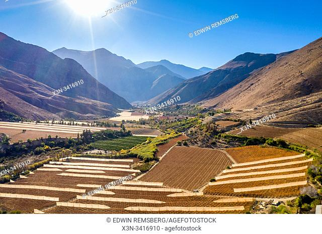 Fields and farmland for the growth of grapes for Pisco production nestled in the mountains of the Elqui Pisco Valley, Coquimbo, Chile