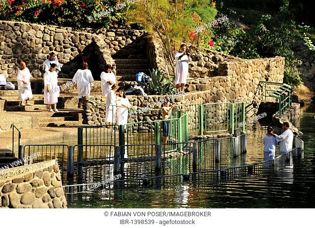 Baptizands at the baptistry of Yardenit on the Jordan River, near Kinneret, Israel, Middle East, Orient