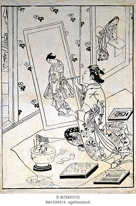fine arts, Okumura Masanobu um 1686 - 1764, the paintress Osawa, woodcut, 18th century, private collection, women, Japan, Asian art, Ukiyo-e, Ukiyo e, Ukiyoe