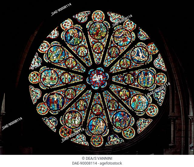 Rose window, south transept of the the primatial Cathedral of Saints John the Baptist and Stephen, Lyon, Rhone-Alpes. Detail. France, 18th century