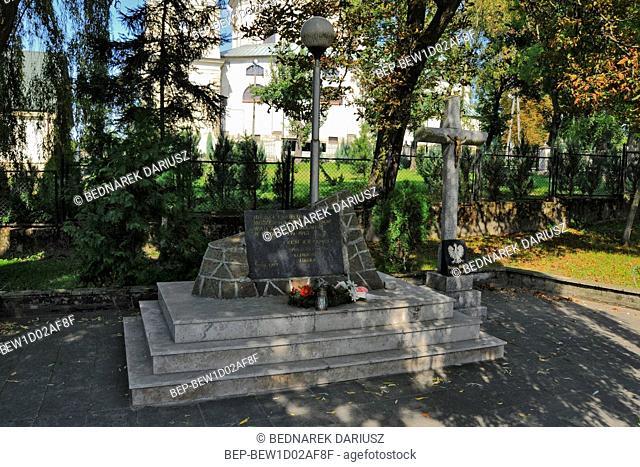 Monument in honor of the fallen in World War II. Klimontow, Swietokrzyskie Voivodeship, Poland
